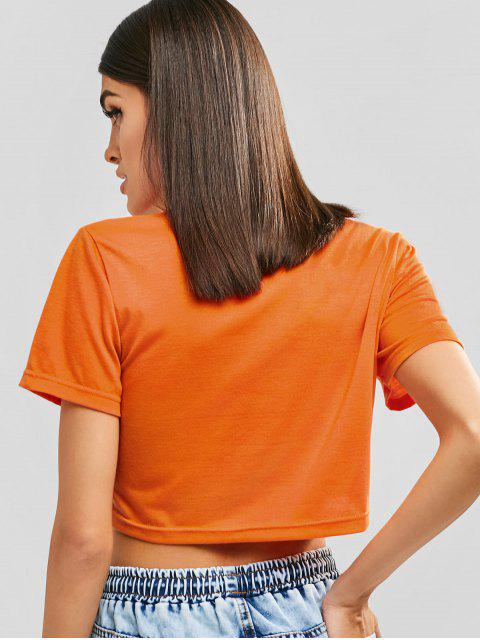 buy No Thanks Graphic Cropped Tee - DARK ORANGE L Mobile