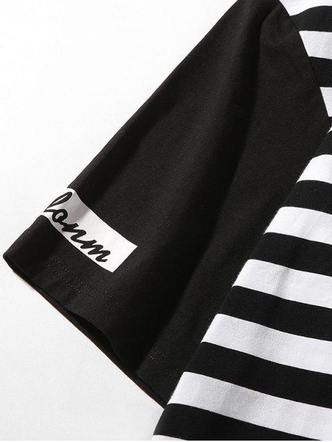 條紋印花拼接短袖T卹 - 黑色 M Mobile