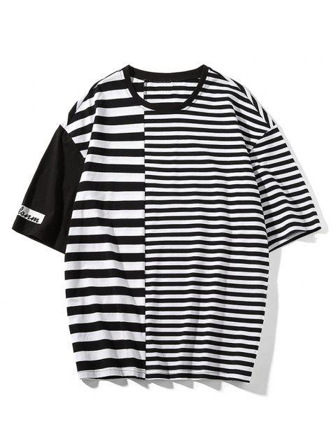 Camiseta de manga corta con estampado de rayas - Negro M Mobile