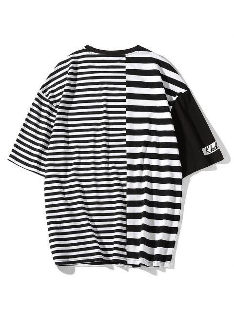 Camiseta de manga corta con estampado de rayas - Negro 2XL Mobile