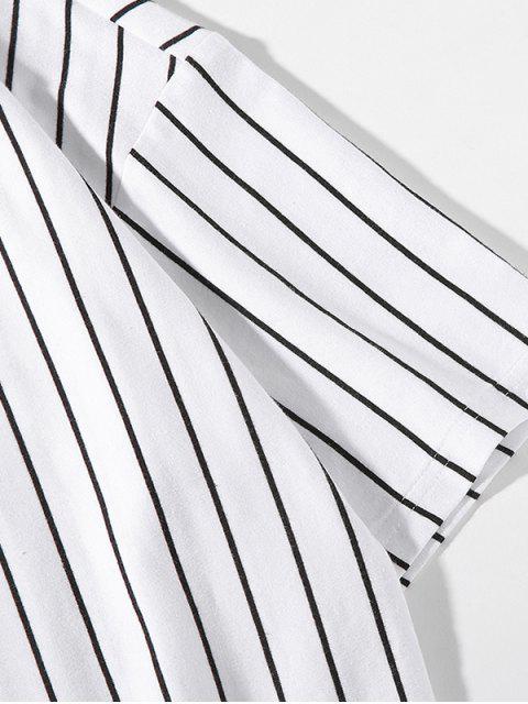 Camiseta de rayas con hombros caídos - Blanco L Mobile