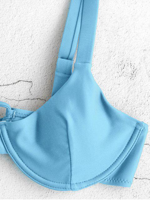 ZAFUL Conjunto de Bikini con Aros con Lazo de Balconette - Azul de Robin Huevo XL Mobile