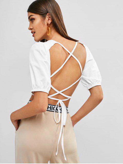 online ZAFUL Criss Cross Crop T-shirt - MILK WHITE S Mobile