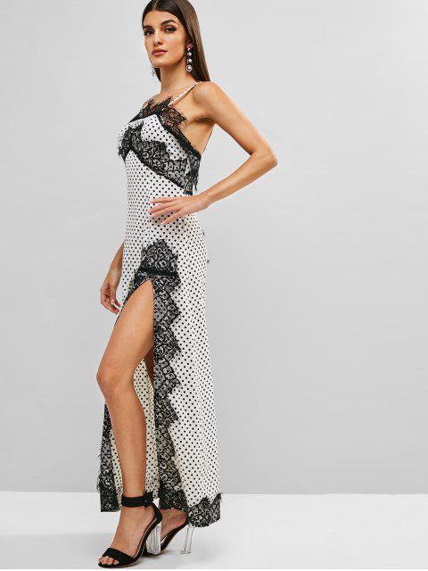 womens Lace Insert Polka Dot Slit Dress - WHITE L Mobile
