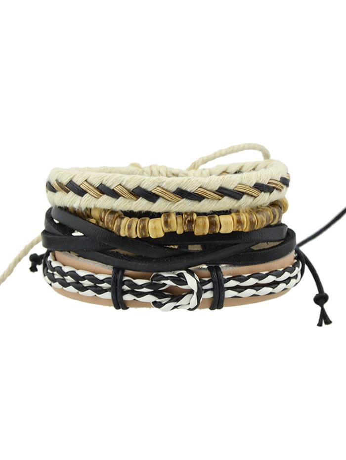 4Pcs Beaded Braid Bracelet Set