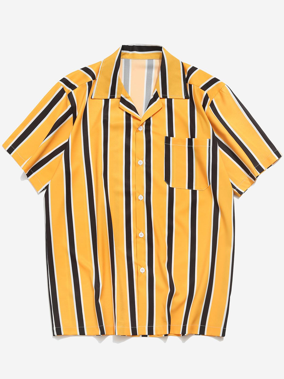 Stripes Print Button Up Casual Shirt, Yellow