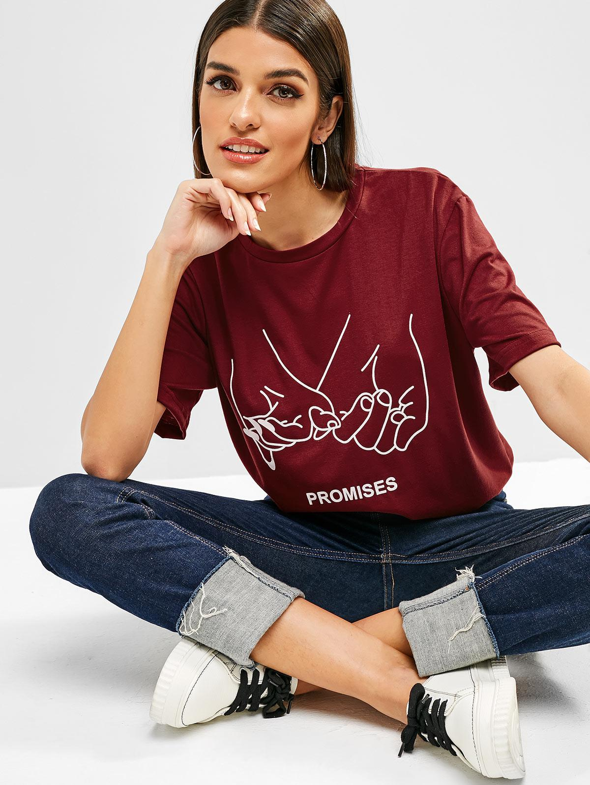 Letter Graphic Short Sleeves Longline Tee, Red wine