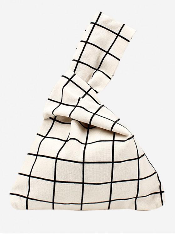 women Japanese Style Print Cotton Handbag - WARM WHITE