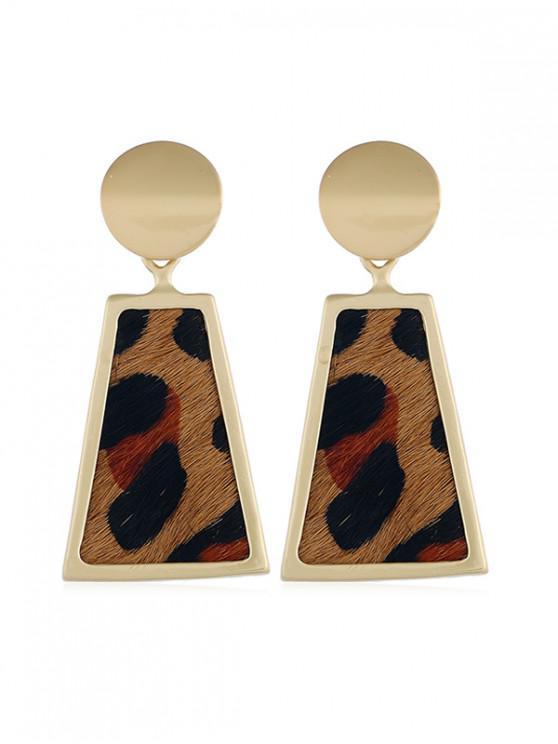 womens Alloy Leopard Trapeze Shape Retro Earrings - LEOPARD