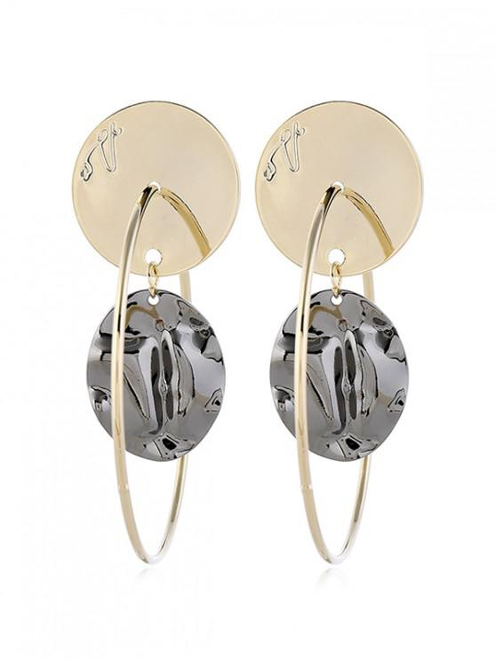 women Alloy Geometric Shape Retro Hollow Out Earrings - GOLD