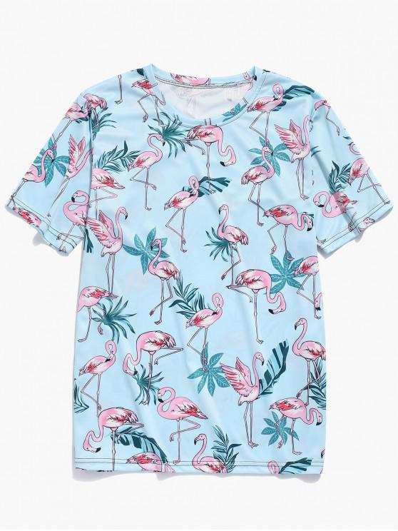 latest Tropical Plant Flamingo Print T-shirt - MACAW BLUE GREEN 4XL