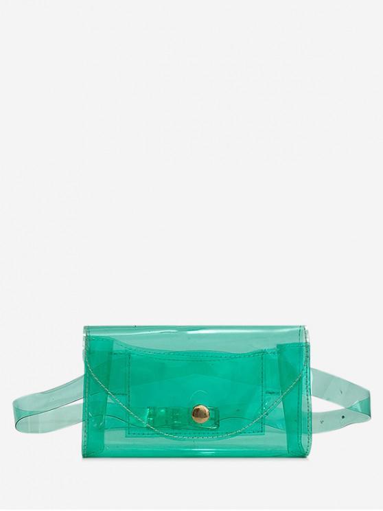 lady Square Solid Transparent Belt Bag - CLOVER GREEN