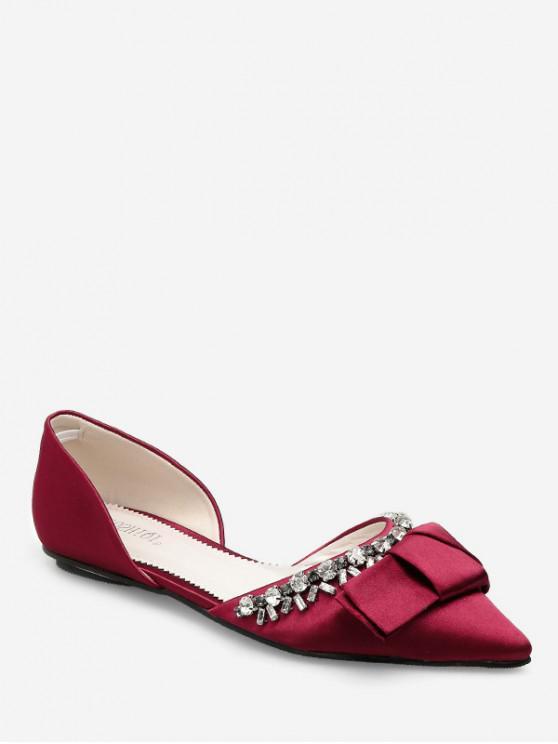 shops Pointed Toe Bow Rhinestone Flat Shoes - RED EU 39