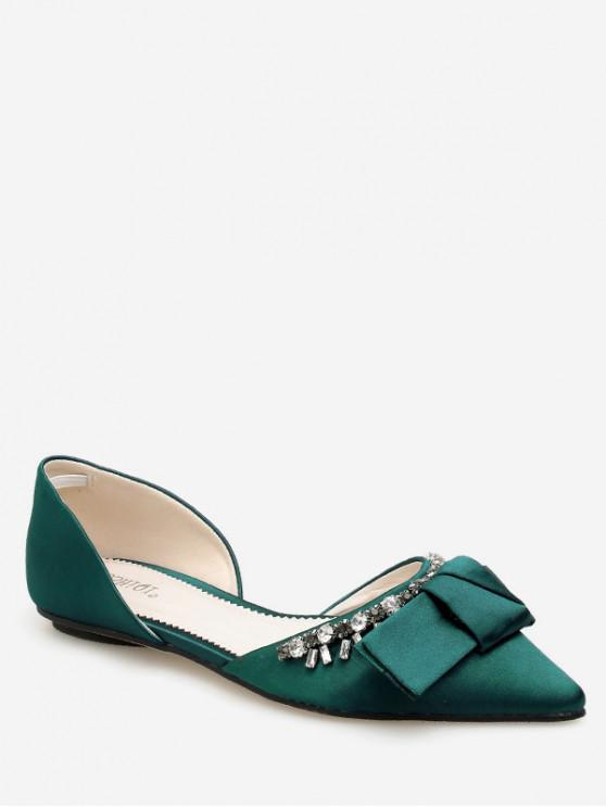 latest Pointed Toe Bow Rhinestone Flat Shoes - DEEP GREEN EU 35
