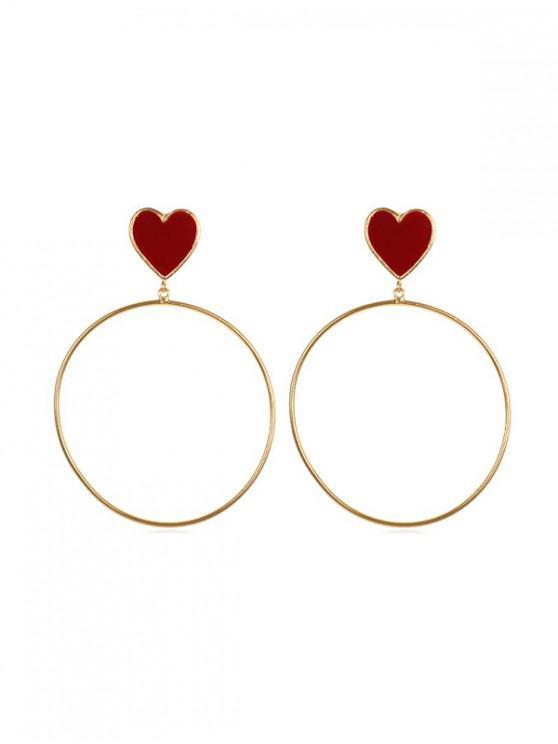 fashion Alloy Punk Style Big Circle Heart Earrings - GOLD
