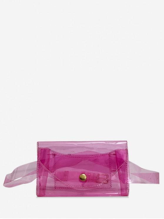 chic Square Solid Transparent Belt Bag - PALE VIOLET RED