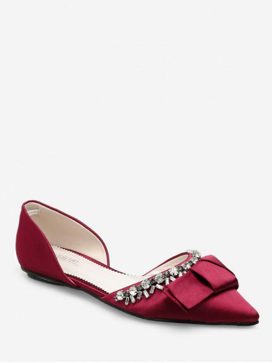 lady Pointed Toe Bow Rhinestone Flat Shoes - RED EU 37