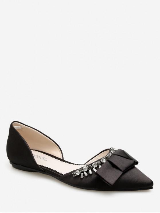 shop Pointed Toe Bow Rhinestone Flat Shoes - BLACK EU 37