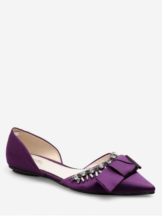 shops Pointed Toe Bow Rhinestone Flat Shoes - PURPLE EU 39