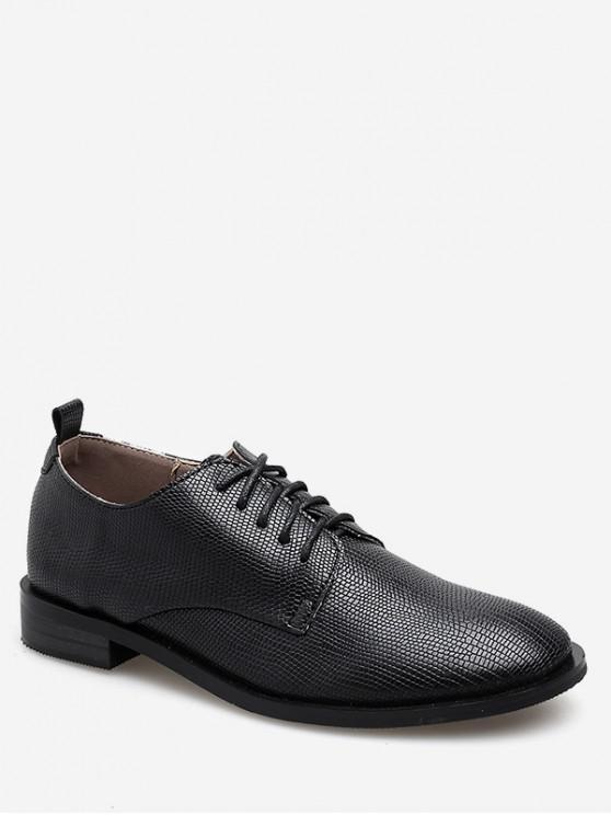 new Geometric Lace Up Faux leather Shoes - BLACK EU 35