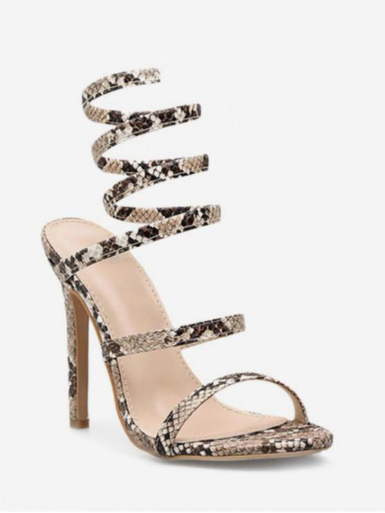 best Sexy Snake Pattern Ankle Wrap Sandals - APRICOT EU 39