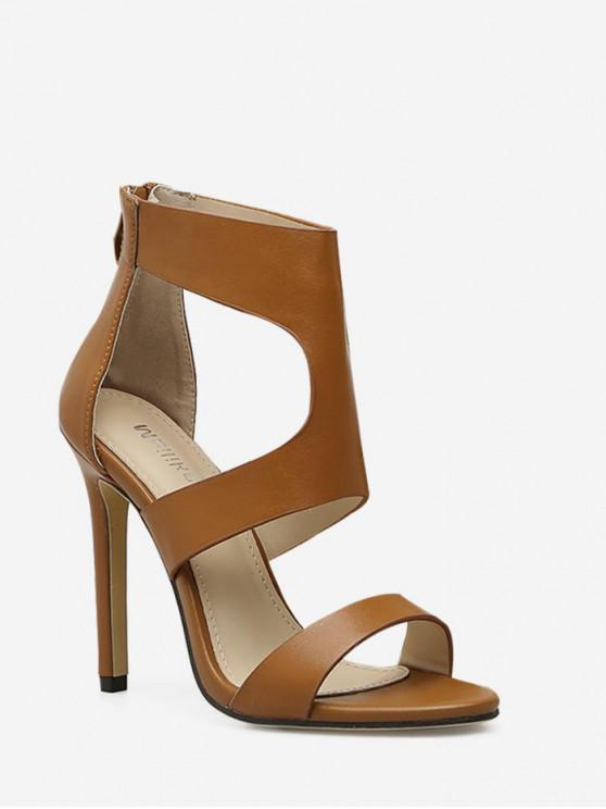 online Sexy Cut Out High Heel Sandals - BROWN EU 36