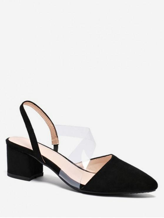 Sandalias de tacón grueso talón grueso dedo del pie puntiagudo - Negro EU 43