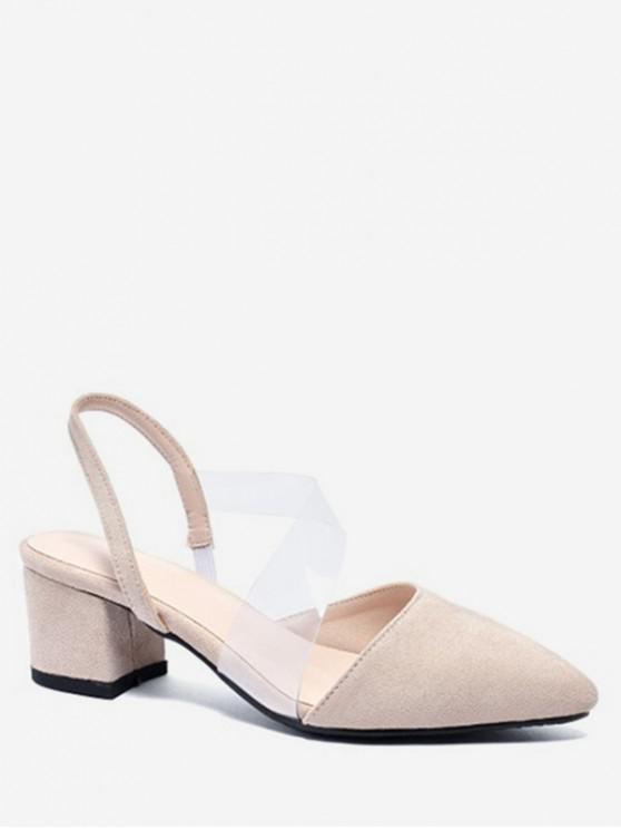 fashion Pointed Toe Thick Heel Slingback Sandals - BEIGE EU 43