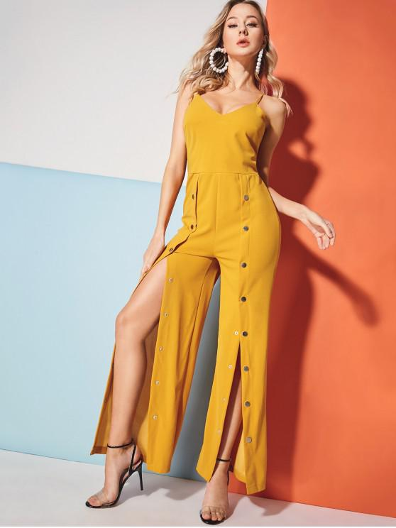 fashion Snap-button Wide Leg Jumpsuit - YELLOW M