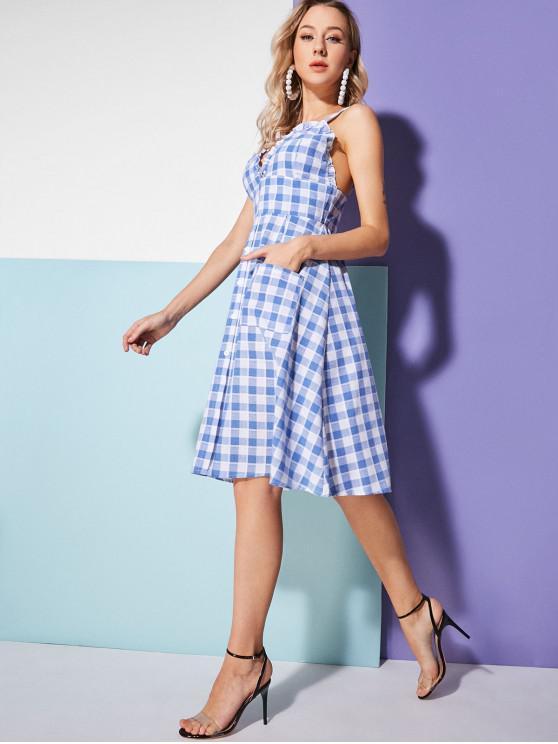 fancy Button Up Plaid Pockets A Line Dress - PASTEL BLUE M