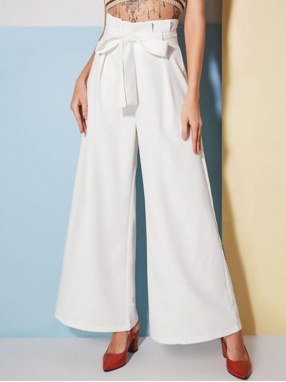 shops ZAFUL Ruffles Belted Wide Leg Pants - WHITE L
