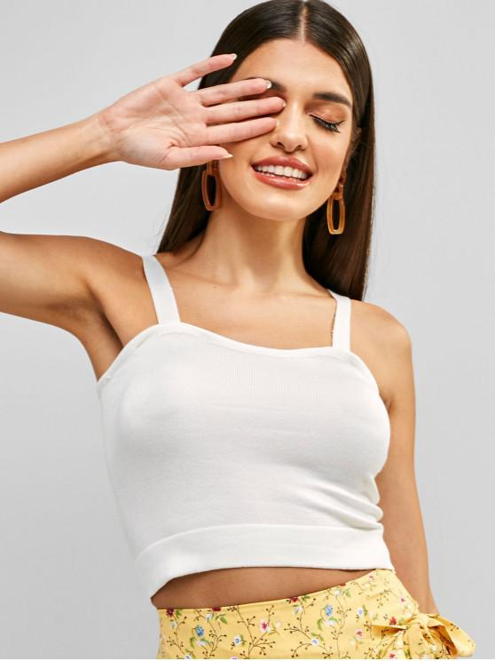 latest Plain Knitted Cropped Tank Top - WHITE ONE SIZE