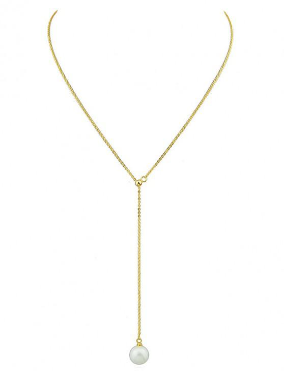 unique Minimalist Faux Pearl Chain Necklace - GOLD