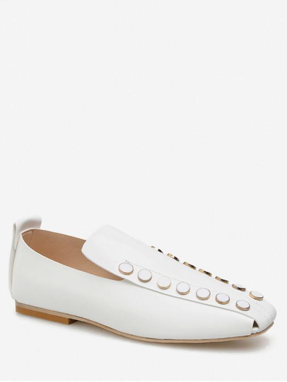 womens Square Toe Round Studded Flat Shoes - WHITE EU 37