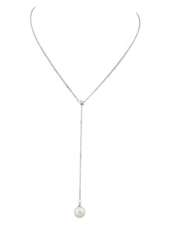ladies Minimalist Faux Pearl Chain Necklace - SILVER