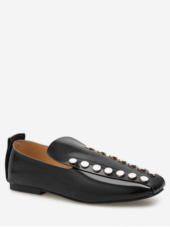 lady Square Toe Round Studded Flat Shoes - BLACK EU 38