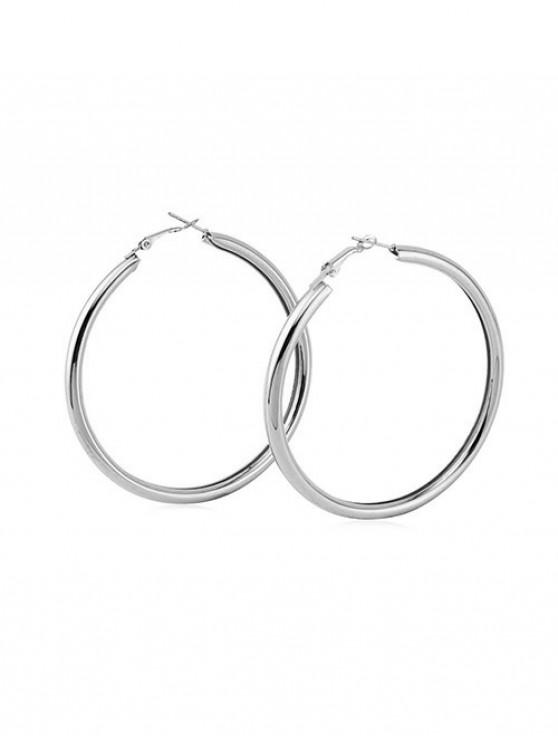hot Stylish Round Ring Metal Street Hoop Earrings - SILVER