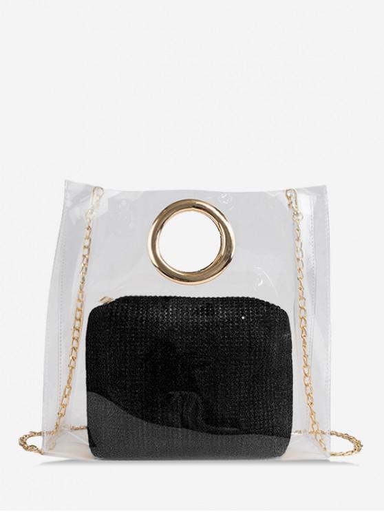 Transparente Handtasche aus Transparentem PVC - Schwarz