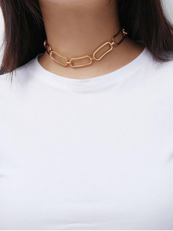 shop Geometric Hollow Chain Choker Necklace - GOLD