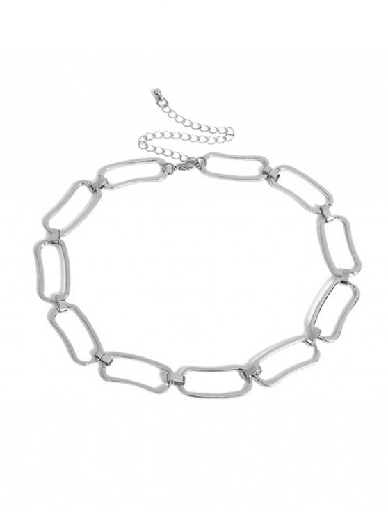 trendy Geometric Hollow Chain Choker Necklace - SILVER