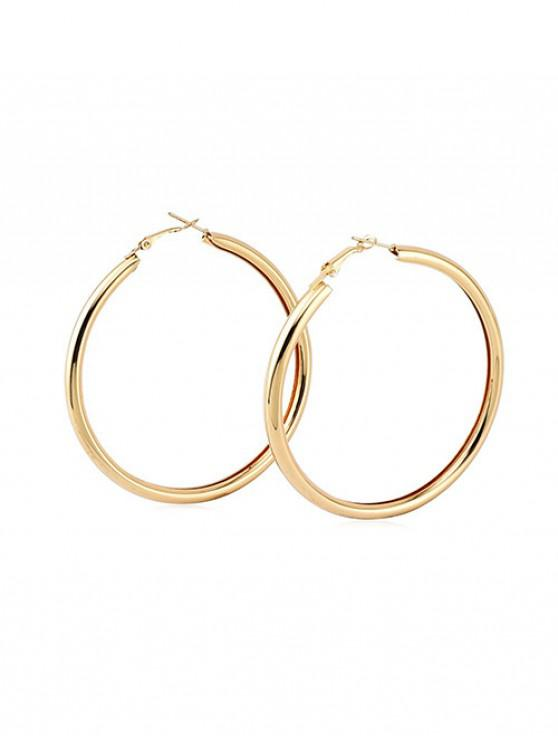 fancy Stylish Round Ring Metal Street Hoop Earrings - GOLD