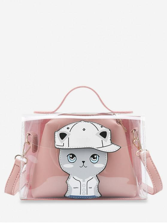 Conjunto de bolso de gato transparente patrón - Rosado