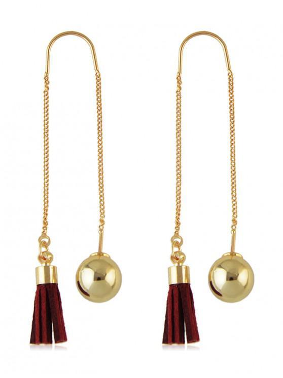 affordable Retro Fringe Ball Ear Thread Earrings - RED WINE