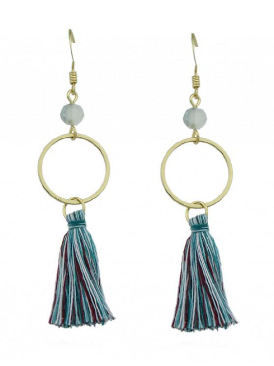 womens Bohemian Circle Tassel Earrings - GOLD