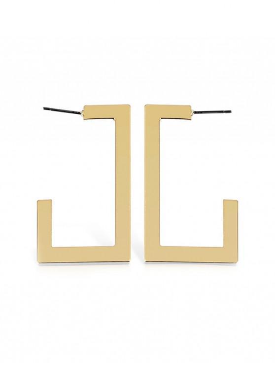 ladies Metal Punk Geometric Dangle Earrings - GOLD