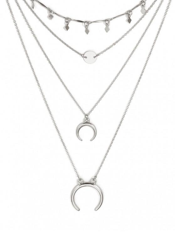 lady Layered Crescent Pattern Pendant Necklace - SILVER