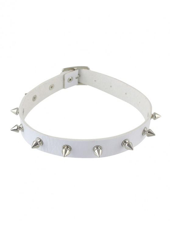 shop Punk Style Leather Rivet Choker Necklace - WHITE
