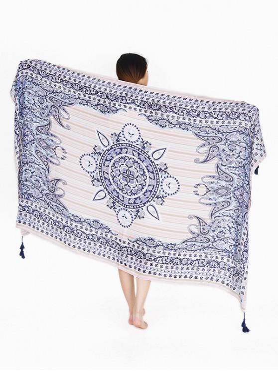 Bufanda de playa borla estampado geométrico - Azul Pizarra