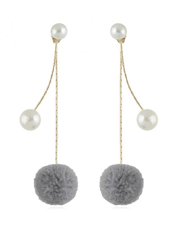 affordable Fuzzy Ball Pearl Decorated Dangle Earrings - GRAY