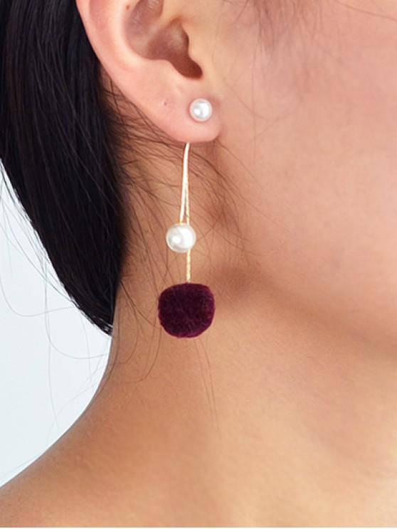 outfits Fuzzy Ball Pearl Decorated Dangle Earrings - RED WINE